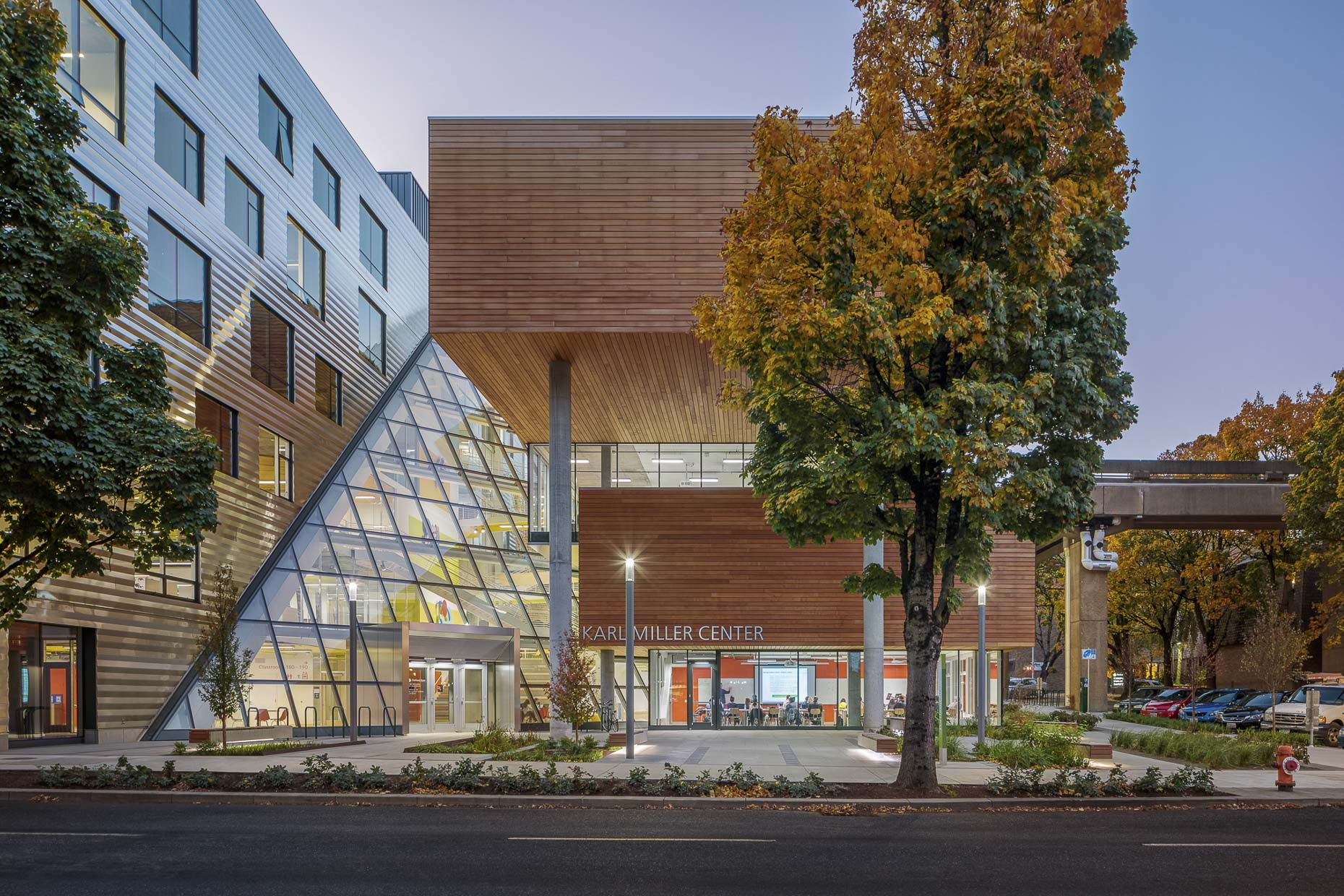 PSU Karl Miller Center by Behnisch Architekten photographed by Brad Feinknopf based in Columbus, Ohio
