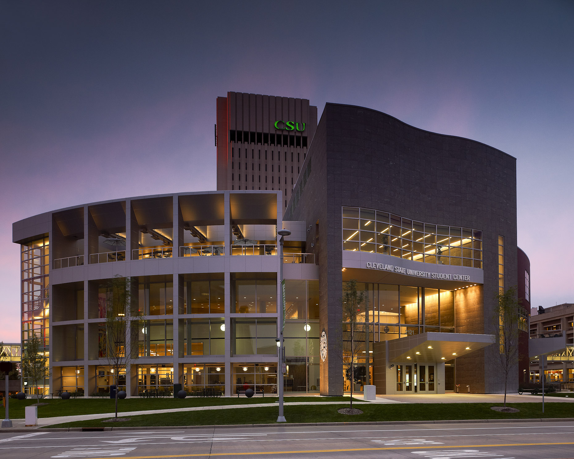 CSU Student Center at Cleveland State University by Gwathmey Siegel & Associates and Braun Steidl Architects Photographed by Brad Feinknopf based in Columbus, Ohio