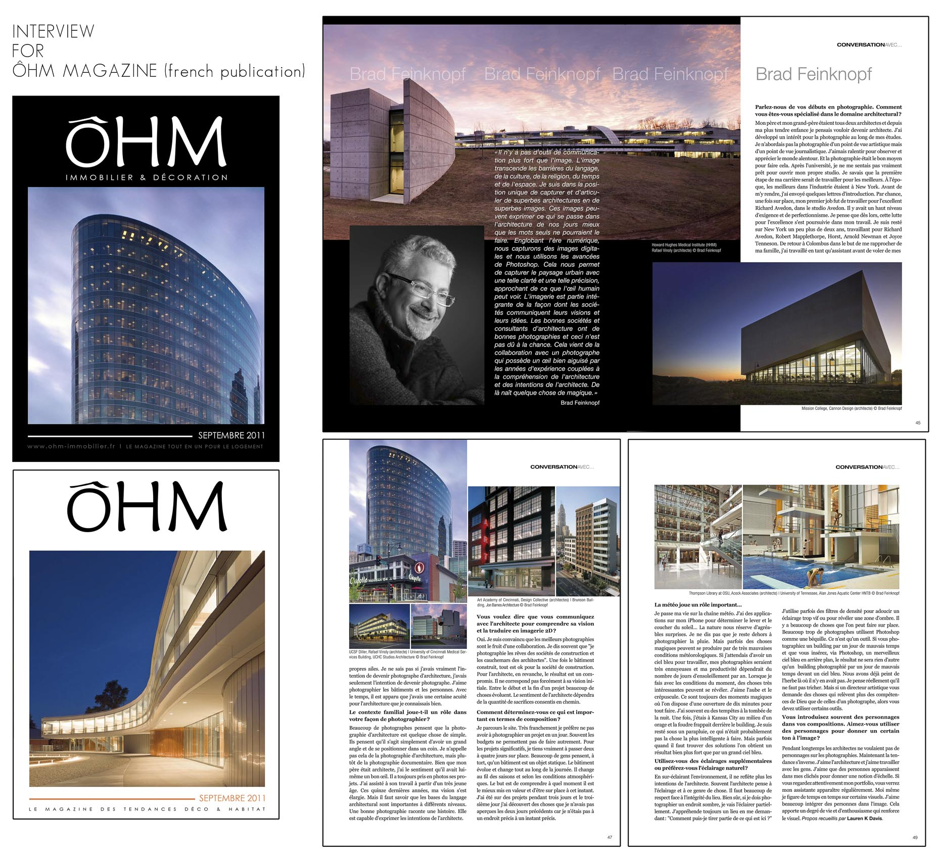 OHM September 2011 Issue with Brad Feinknopf Interview