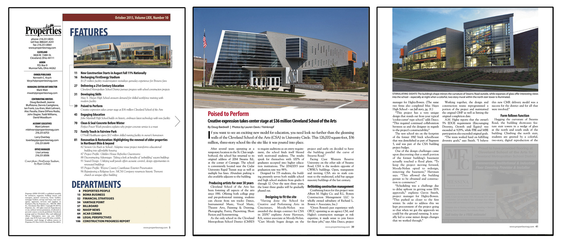 Properties Magazine October 2015 Cleveland School of the Arts